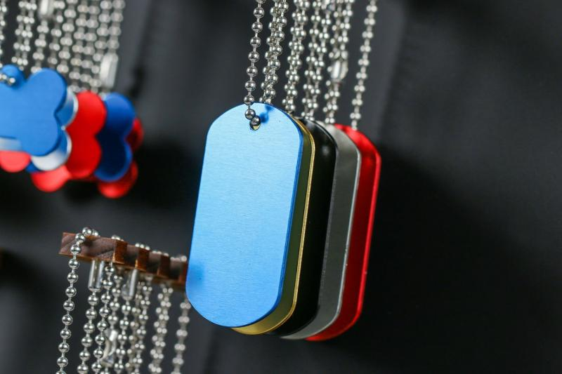Dog tags anodised aluminium for laser engraving and laser marking